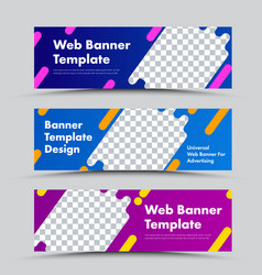 set horizontal banners with abstract shape vector image