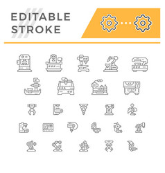 set line icons of machine tool robotic industry vector image vector image