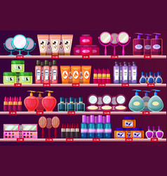 Shelves with woman cosmetic beauty salon showcase vector
