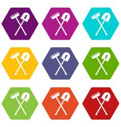 shovel and rake icon set color hexahedron vector image