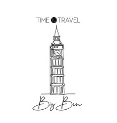 Single one line drawing big ben clock tower wall vector