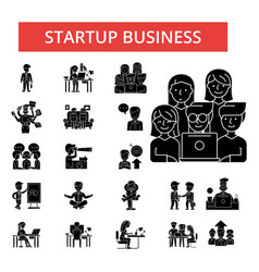 startup business thin line icons vector image