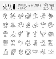 Summer tropical beach icon collection hand draw vector