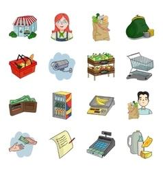 Supermarket set icons in cartoon style Big vector