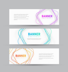 template of white banner with abstract tangled vector image