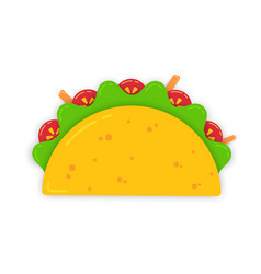 traditional mexican taco with carrot sticks vector image