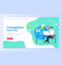 transaction security online support service page vector image
