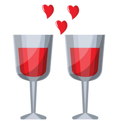 two wine glasses with red liquid and red hearts vector image