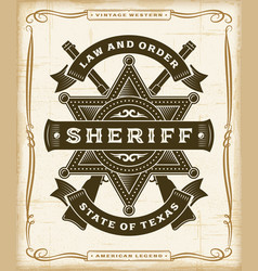 vintage western sheriff label graphics vector image