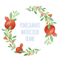 Watercolor pomegranate organic wreath vector