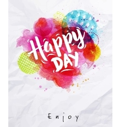 Watercolor poster happy day vector image