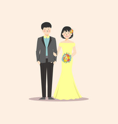 Wedding couple holding hand and flower bouquete vector