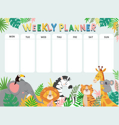 weekly planner for kid child schedule for week vector image