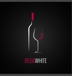 Wine glass bottle logo design background vector