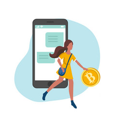 woman managing gold bitcoins in smartphone app vector image