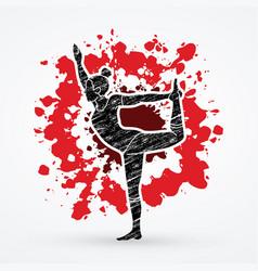 woman practicing yoga yoga action vector image