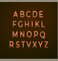 Wooden alphabet with wood texture vector