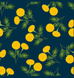 Yellow marigold seamless on dark blue background vector