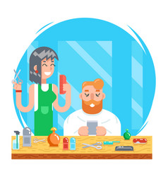barber hipster geek online mobile character male vector image vector image