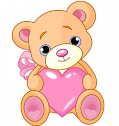 bear with heart vector image vector image