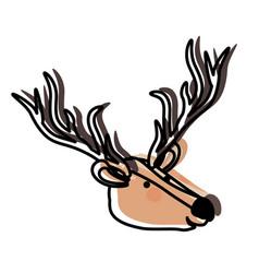 deer cartoon head in watercolor silhouette vector image