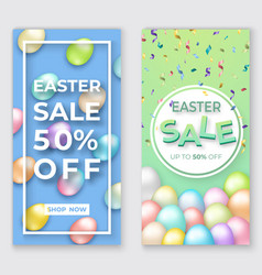 easter vertical banners with 3d eggs on green and vector image