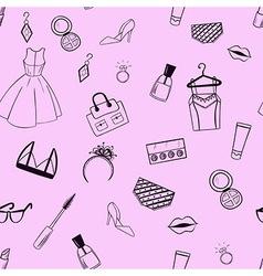 Fashion seamless pattern Dress ear rings ring vector image