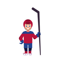 flat ice hockey player boy isolated vector image vector image