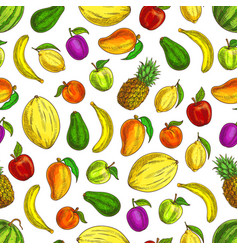 fruits sketched icons in seamless fruit pattern vector image