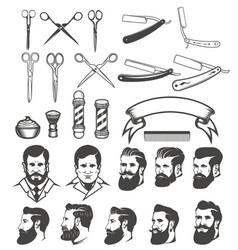 set of barber tools mans heads design elements vector image