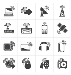 Black wireless and technology icons vector image