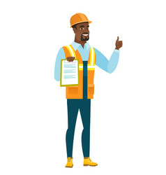 builder with clipboard giving thumb up vector image vector image