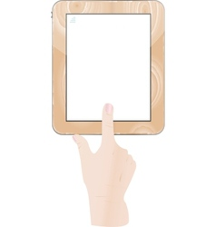Hands holding and point on digital tablet vector image vector image