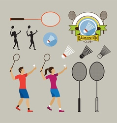 Badminton Player and Graphic Elements vector image