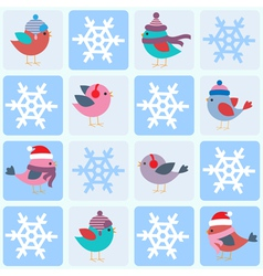 Birds and snowflakes vector image vector image
