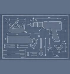 blueprint building tool vector image