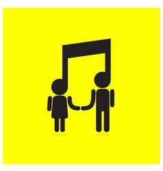 Creative music note sign icon and people sign vector image