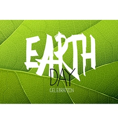 Happy Earth Day Poster Green leaf texture vector image