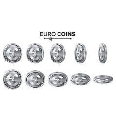 Money euro 3d silver coins set realistic vector