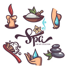 nail foot hand spa and care objects and icons vector image vector image