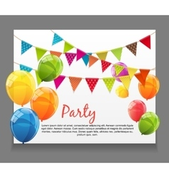 Party Background Baner with Flags and Balloons vector image
