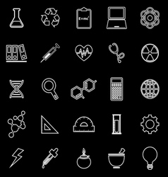 Science line icons on black background vector