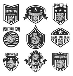 set of american basketball team labels emblems vector image vector image