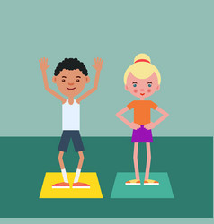 boy and girl perform physical fitness exercise vector image
