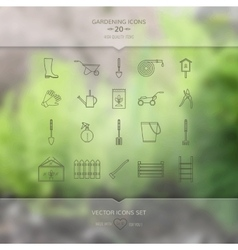 Gardening tools icons set vector image