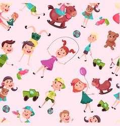 seamless pattern with school or kindergarten kids vector image