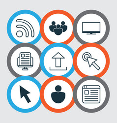 set of 9 internet icons includes human wifi vector image vector image