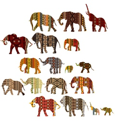 Set of patterned elephants in ethnic style vector image