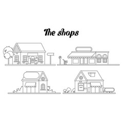 shop facade on our street flat line vector image
