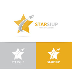 star and rocket logo combination leader vector image vector image